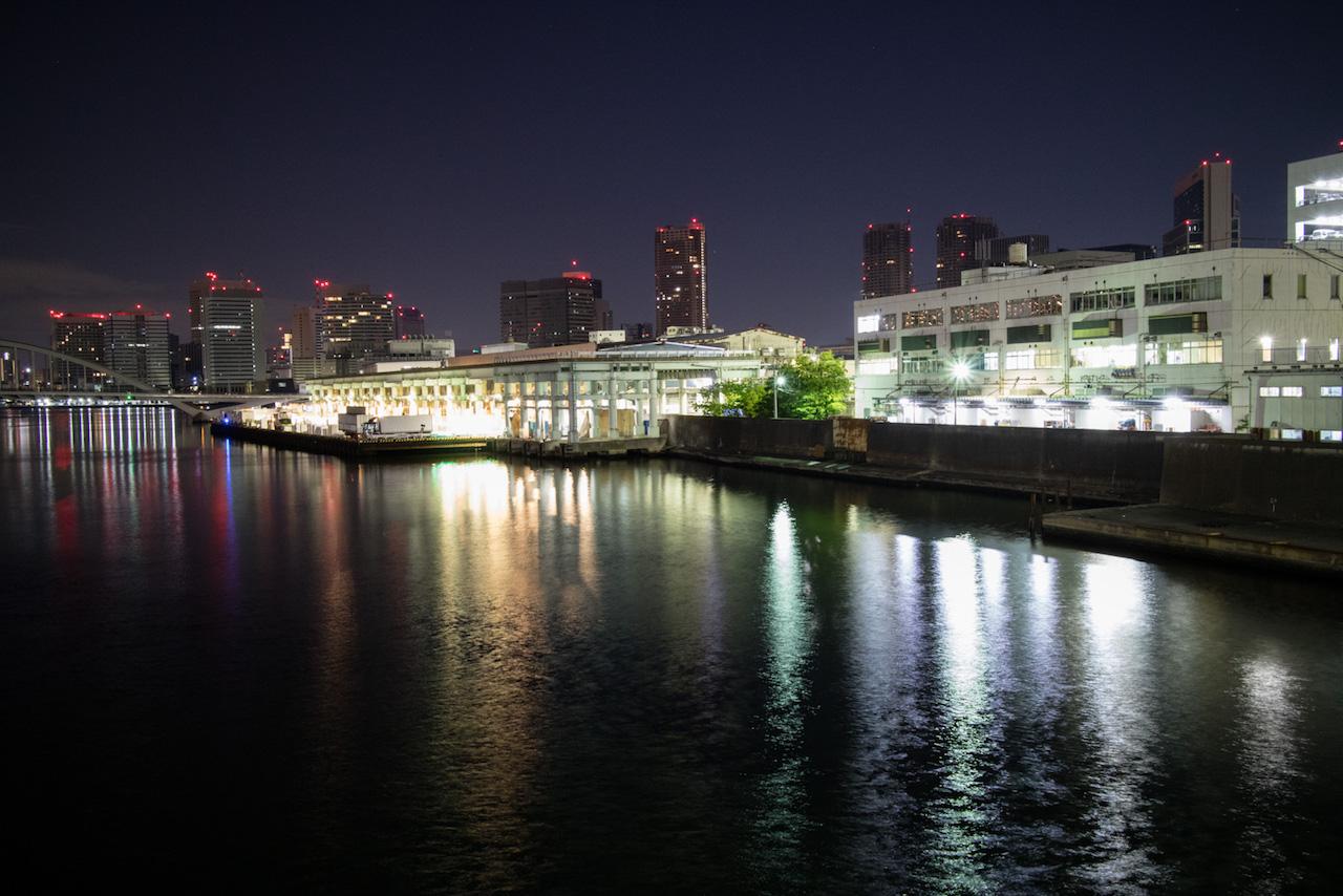築地市場の見える夜景